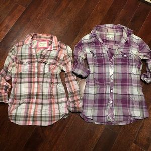 Set of 2 AERO Aeropostale Plaid Button-Down Shirts